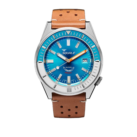 SQUALE Matic 60 ATM - blue - vintage brown leather strap