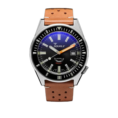 SQUALE Matic 60 ATM - grey - vintage brown leather strap
