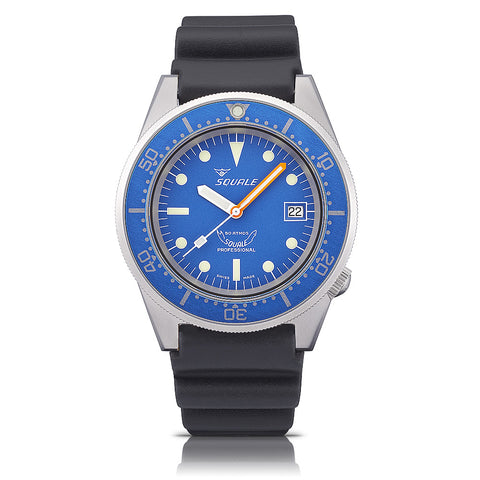 SQUALE Ocean Blasted 50 ATM - blue - black rubber strap