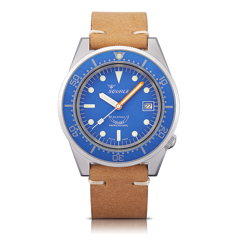 SQUALE Ocean Blasted 50 ATM - blue - vintage brown leather strap