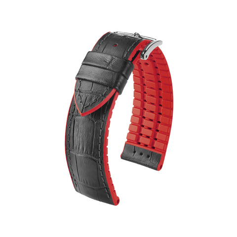Hirsch Performance Andy - leather-rubber strap - red