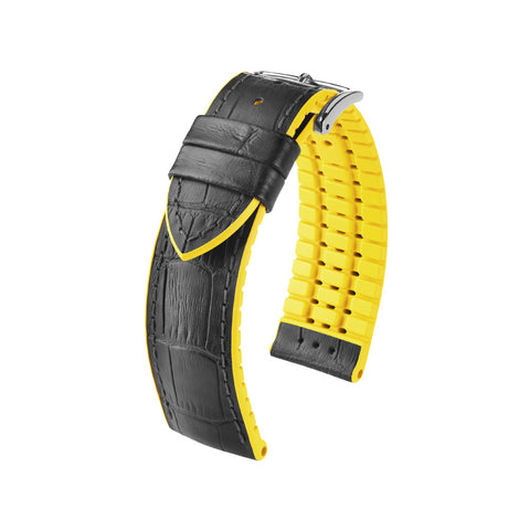 Hirsch Performance Andy - leather-rubber strap - yellow