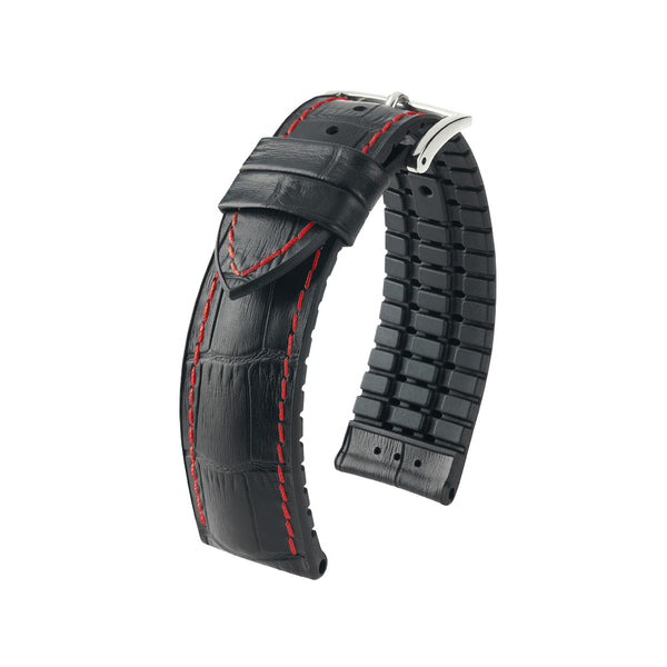Hirsch Performance George - leather-rubber strap - black with red stitching - www.toptime.eu