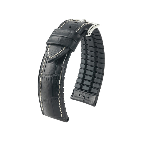 Hirsch Performance George - leather-rubber strap - black with white stitching - www.toptime.eu