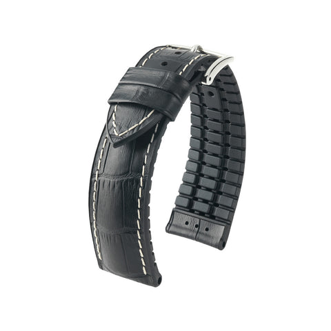 Hirsch Performance George - leather-rubber strap - black with white stitching