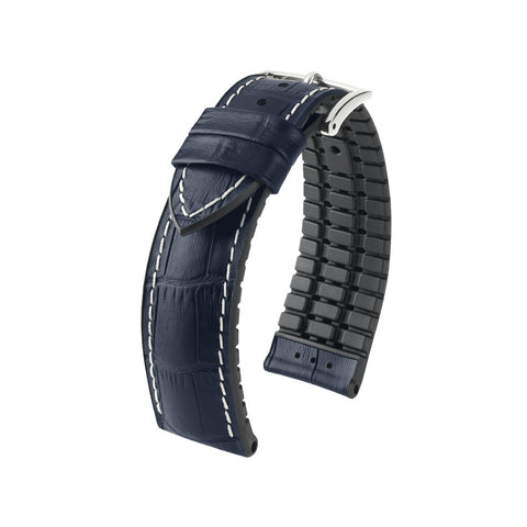 Hirsch Performance George - leather-rubber strap - blue