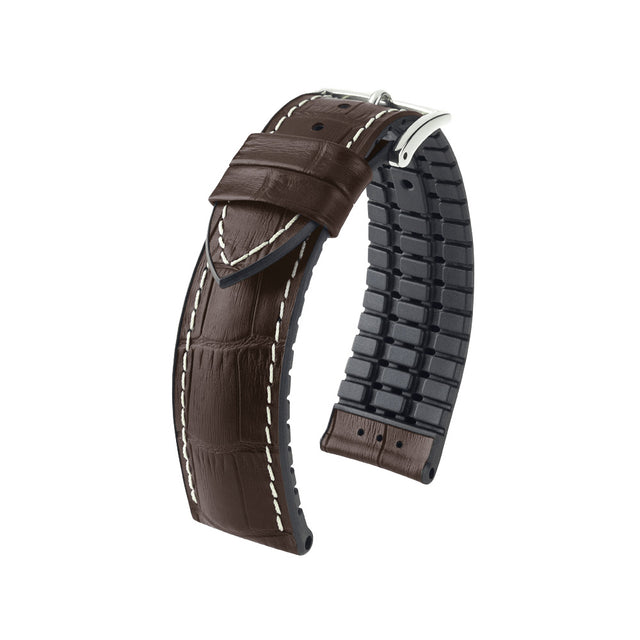 Hirsch Performance George - leather-rubber strap - brown - www.toptime.eu