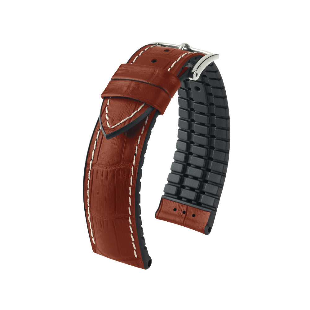 Hirsch Performance George - leather-rubber strap - goldenbrown - www.toptime.eu