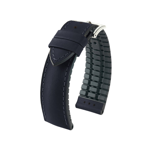 Hirsch Performance James - leather-rubber strap - black