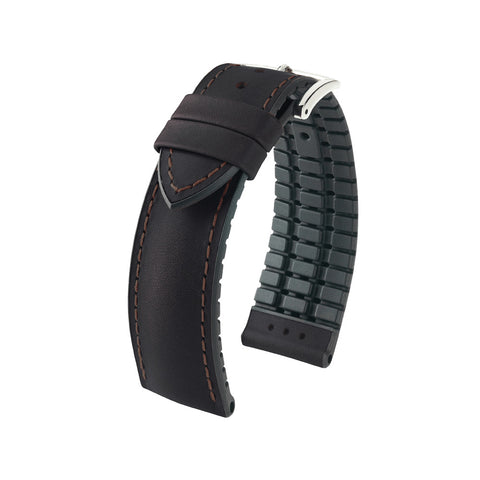 Hirsch Performance James - leather-rubber strap - brown