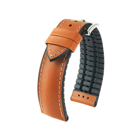 Hirsch Performance James - leather-rubber strap - goldenbrown