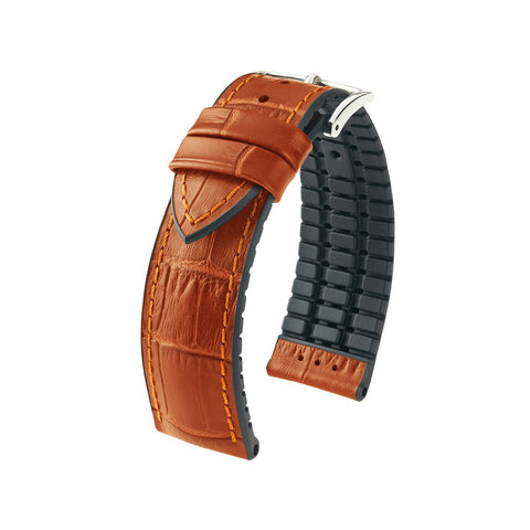 Hirsch Performance Paul - leather-rubber strap - honey