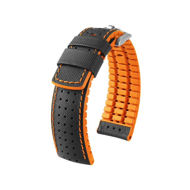 Hirsch Performance Robby - leather-rubber strap - orange - www.toptime.eu