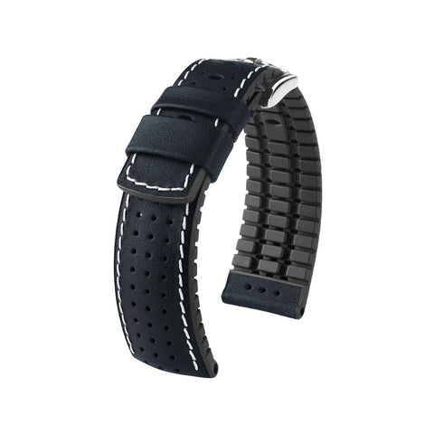 Hirsch Performance Tiger - leather-rubber strap - black