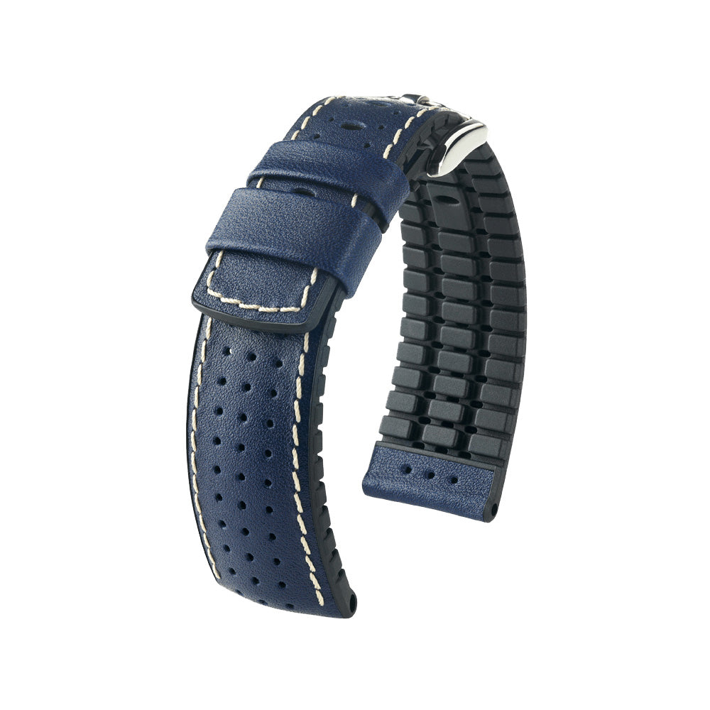 Hirsch Performance Tiger - leather-rubber strap - blue - www.toptime.eu