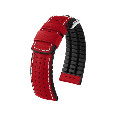 Hirsch Performance Tiger - leather-rubber strap - red