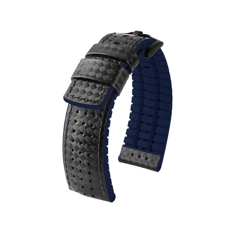 Hirsch Performance Ayrton - leather-rubber strap - blue