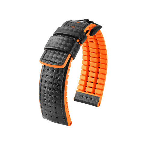 Hirsch Performance Ayrton - leather-rubber strap - orange