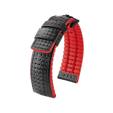 Hirsch Performance Ayrton - leather-rubber strap - red
