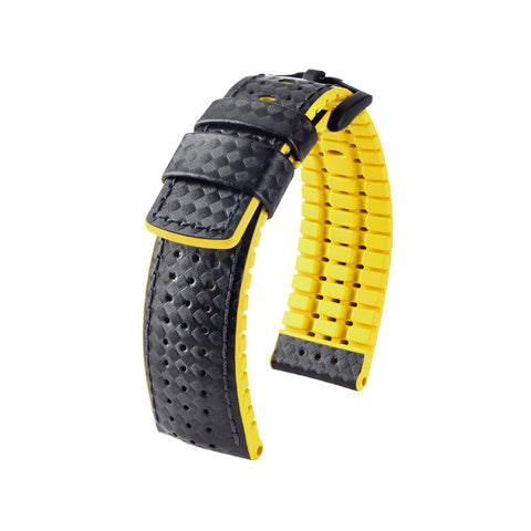 Hirsch Performance Ayrton - leather-rubber strap - yellow