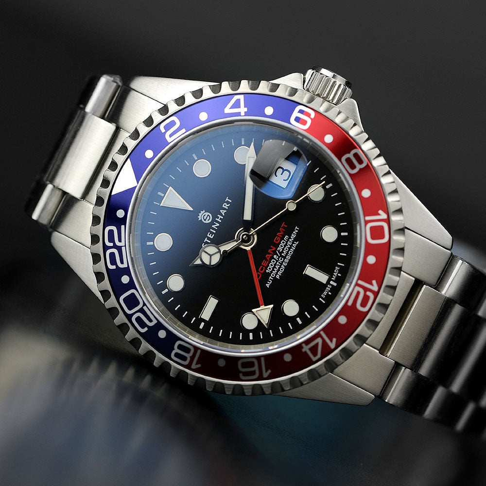steinhart gmt ocean 1 blue red