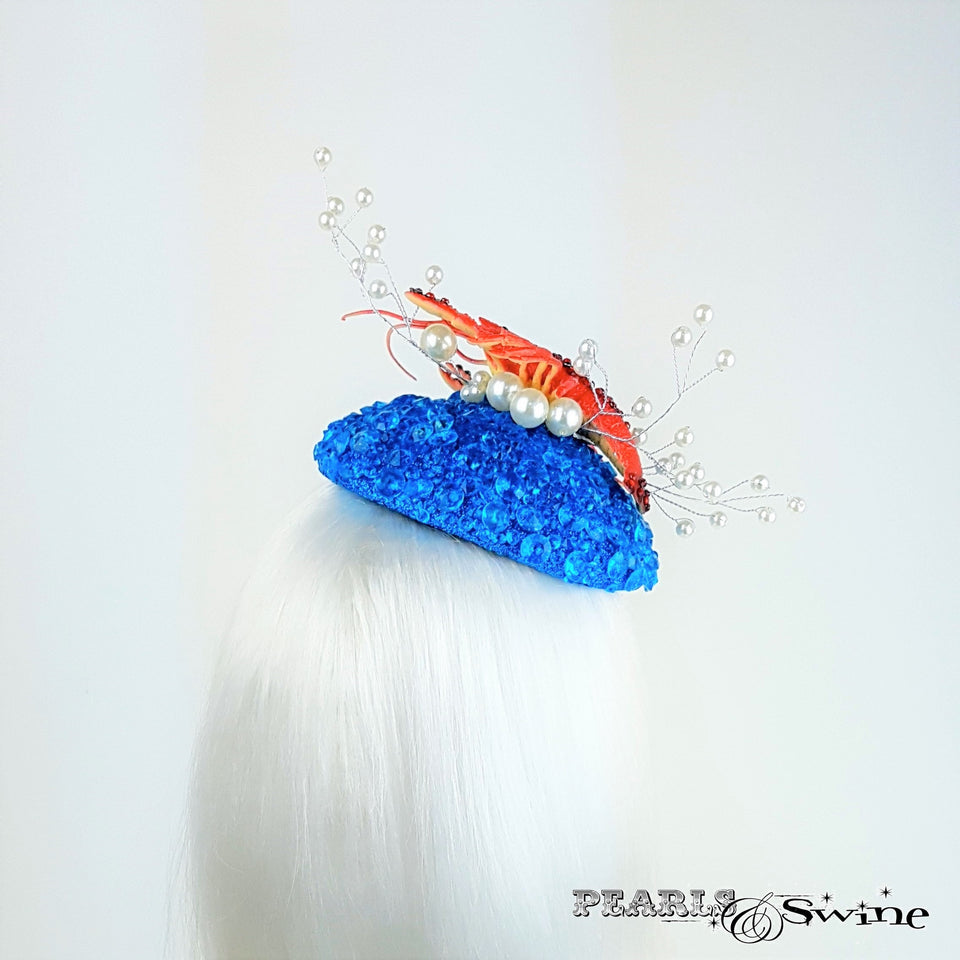 Hand blocked ocean and lobster hat