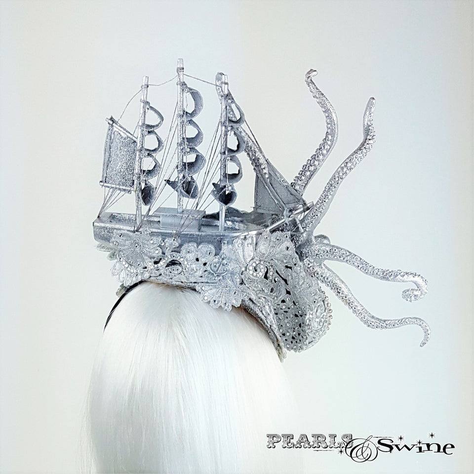 "Silver Ship & Kraken Octopus Hat ""The Awakening"""