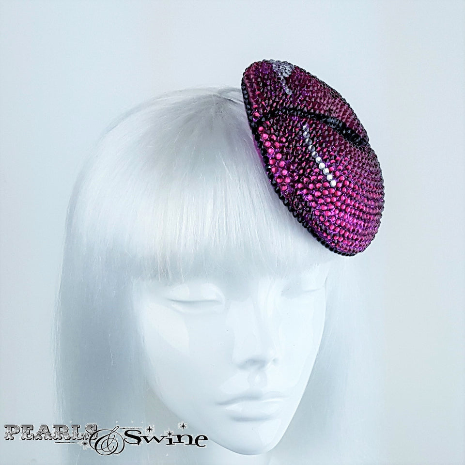 hand blocked Pink Lips hat