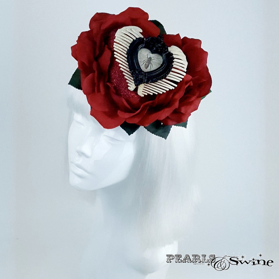 Red Rose and Heart Hat