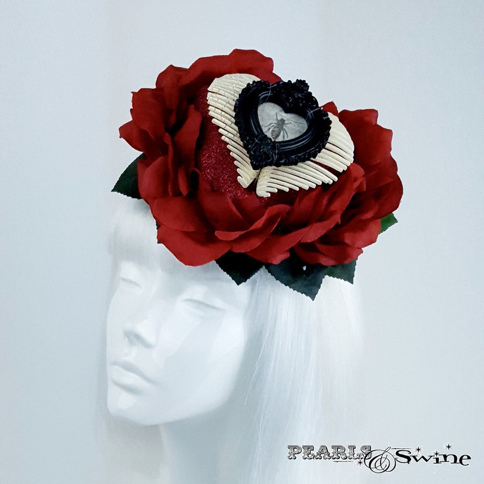 Red Rose Heart and Bee Hat