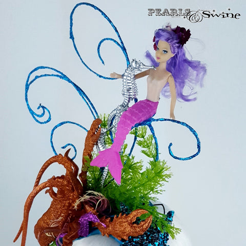 Purple haired Mermaid under the sea hat