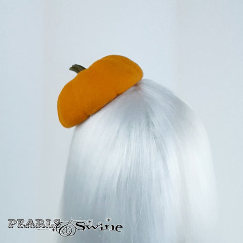 Realistic Orange Felt Pumpkin Hat