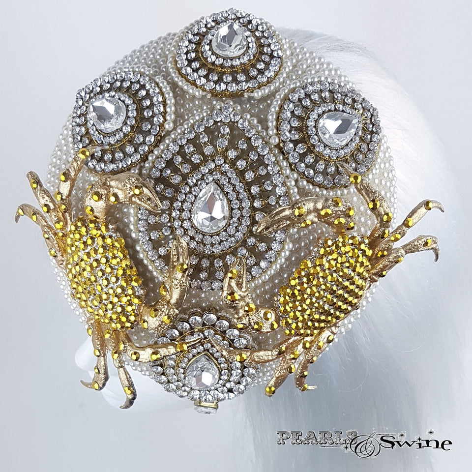 Jewel encrusted Pearl Crab hat