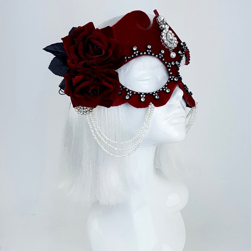 P&S10SALE: Red velvet rose mask