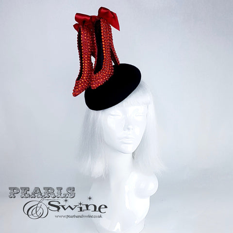 red glitter heel shoes hat