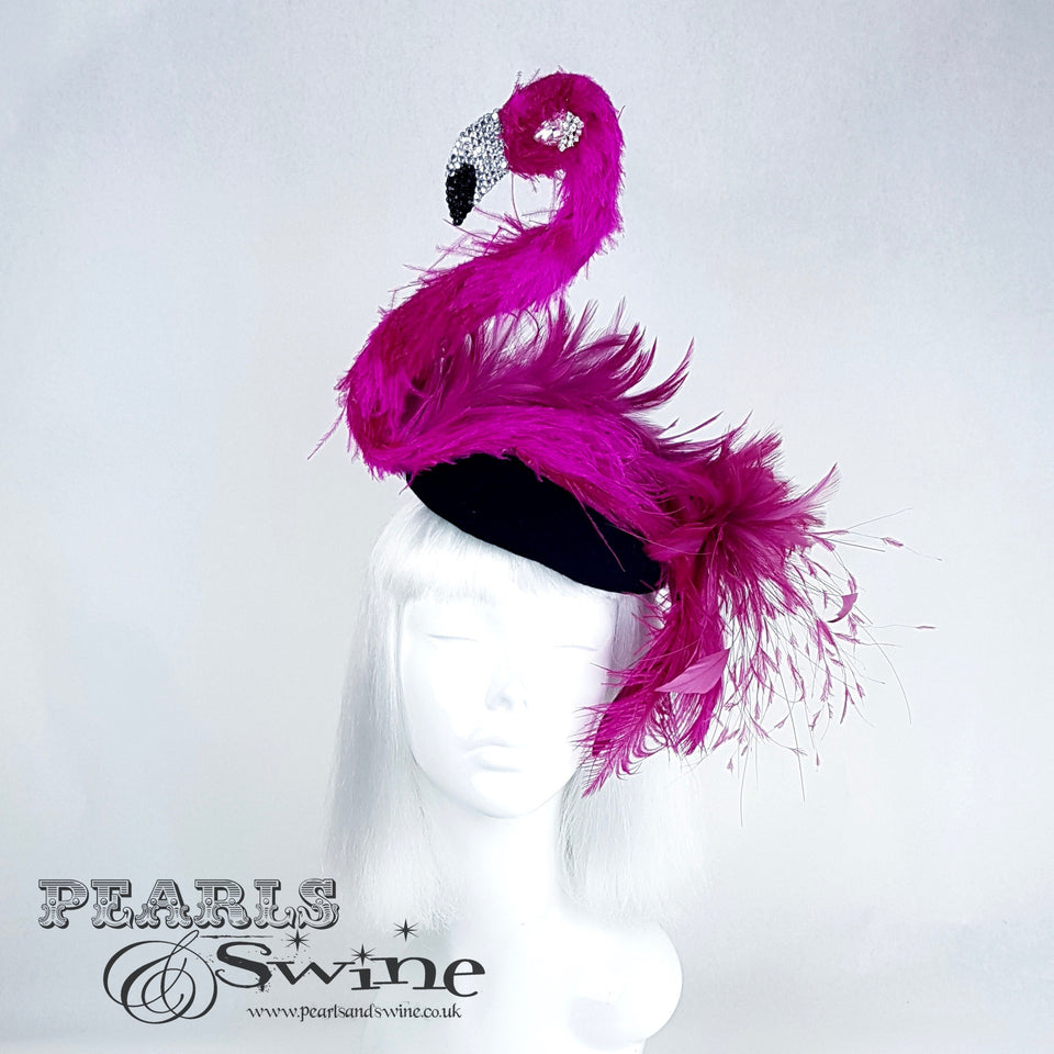 """Pinkie the Flamingo"" Flamingo Feather Crystal Hat"