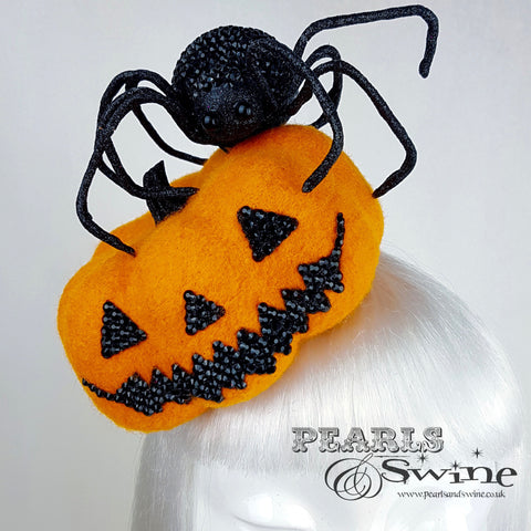 """The Witching Hour"" Pumpkin and Spider Hat"