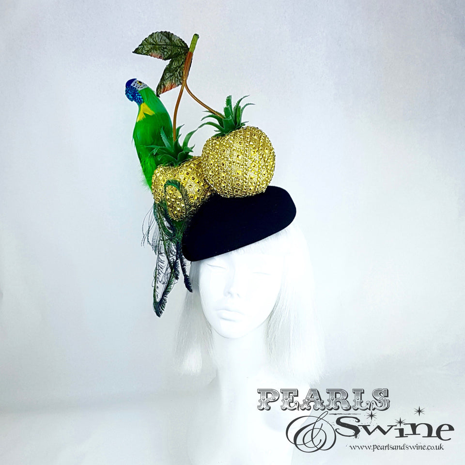 """Exotic"" Giant Golden Pineapple Cherry Parrot Hat"