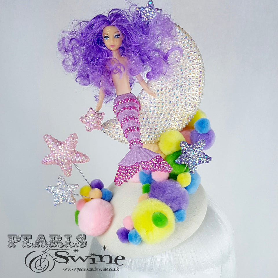 """Mermaid on the Moon"" Crystal Pom Pom Hat"