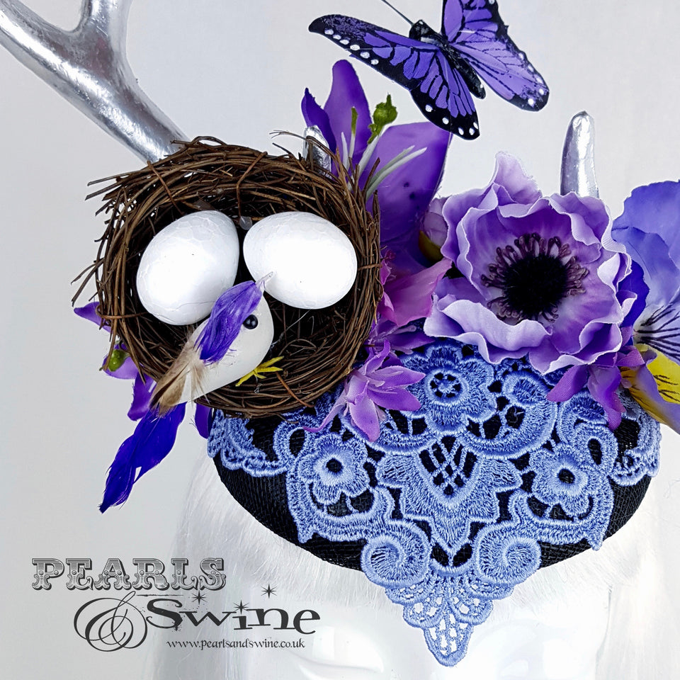 purple flower butterfly hat