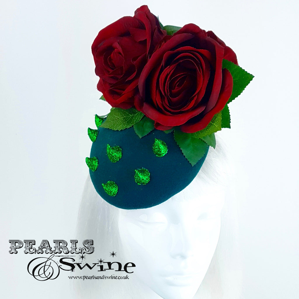 """Thorn Among the Roses"" Red Rose Glitter Thorn Hat"