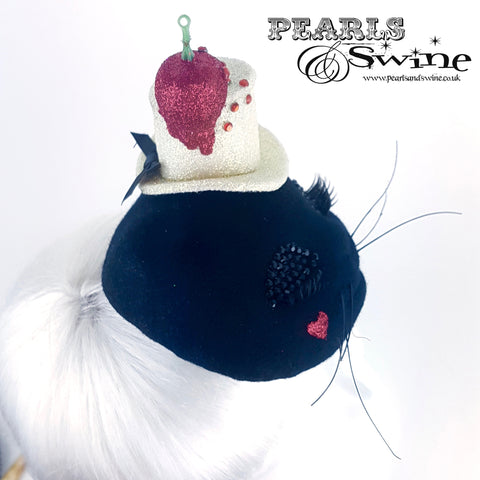 """Meow"" Black Cat Cherry Hat"