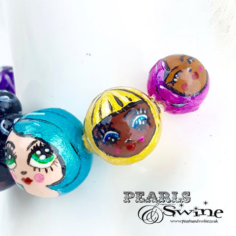 """A Row of Poppets"" DollFace Necklace"