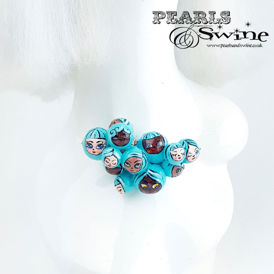 """Aqua Poppets"" Blue Bubble DollFace Necklace"