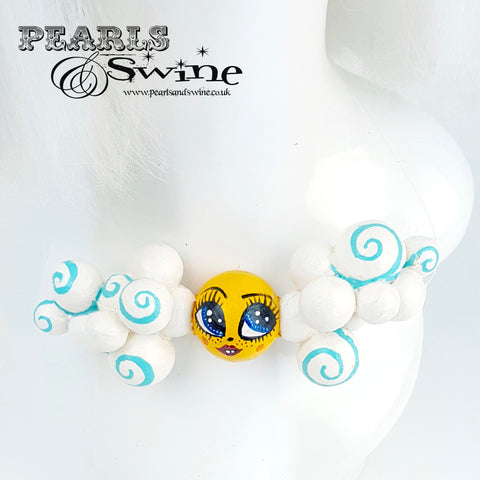 """Sunny Day"" Clouds & Sunshine DollFace Necklace"