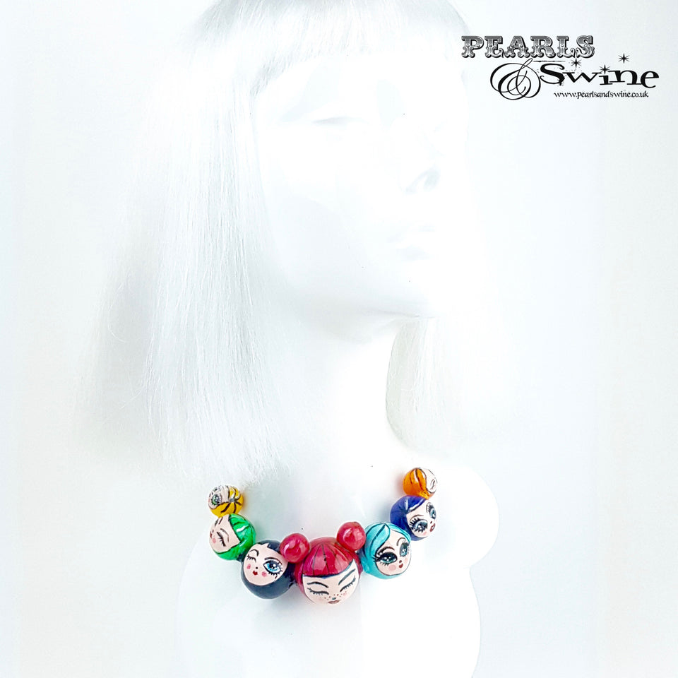 """A Ring of Poppets"" Colourful DollFace Necklace"