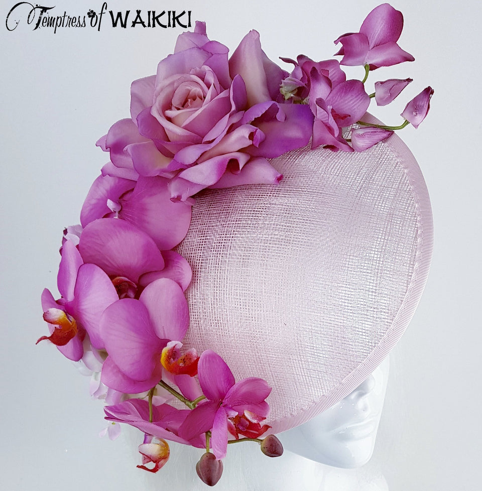 """Blossom"" Pink Orchid Rose Royal Ascot Hat"
