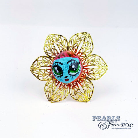 """Pixie"" Big Eyed DollFace Ring"
