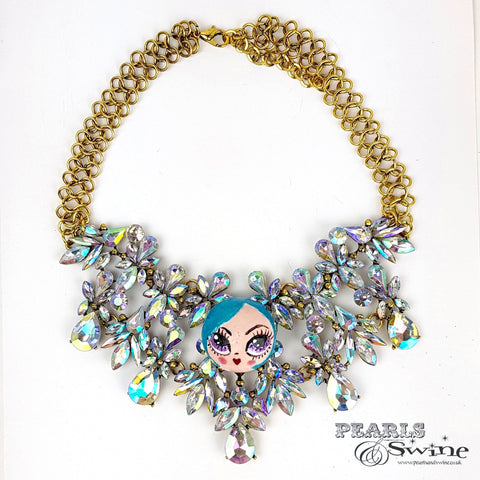 """La Mignonne"" Opulent Colourful DollFace Necklace"
