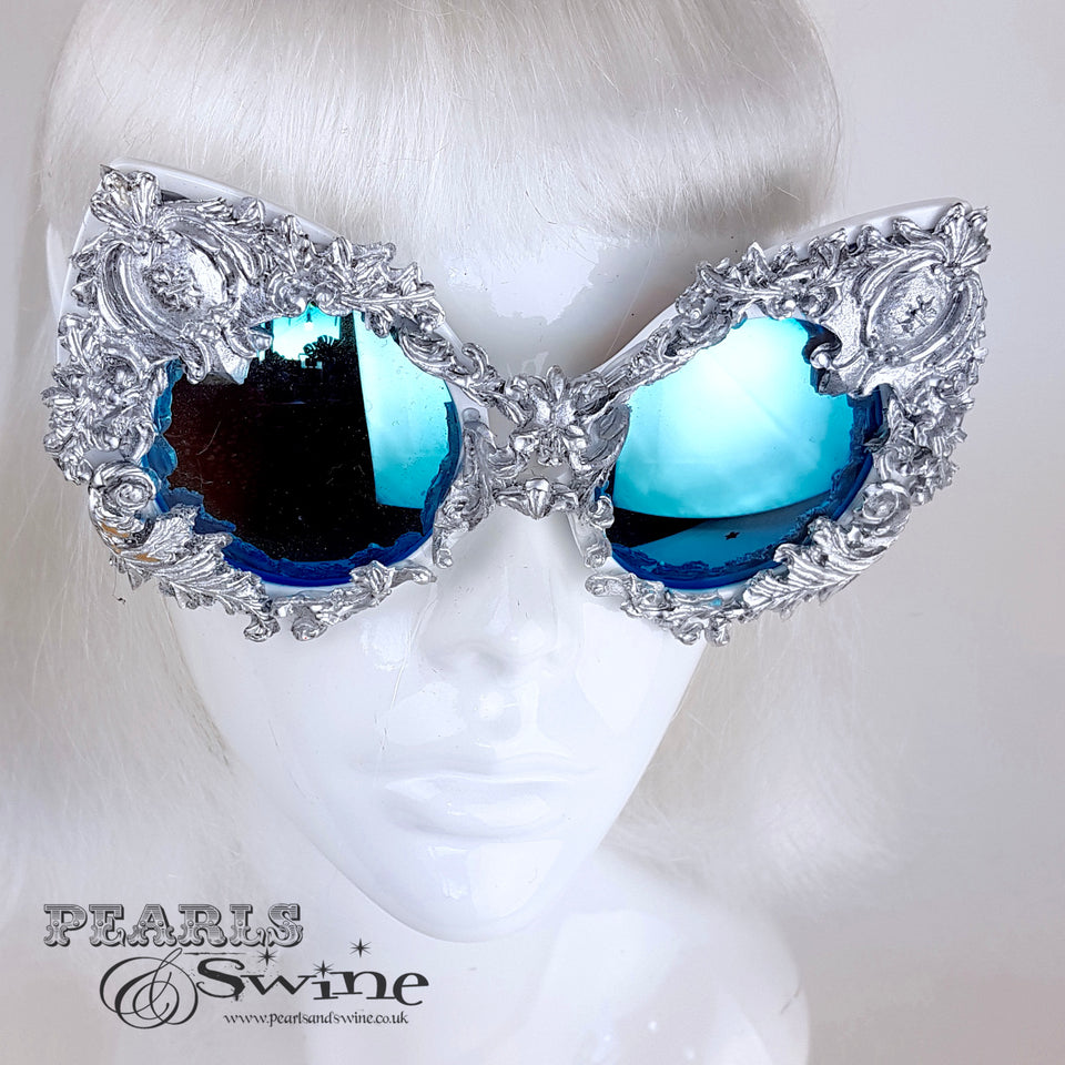 """Versailles"" Silver Filigree Ornate Sunglasses"